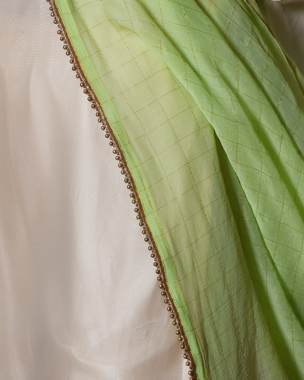 Ivory chanderi bell sleeve kurta with gold gota lace farshi pant & chiffon dupatta 1