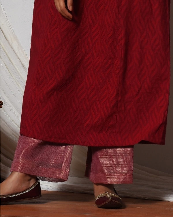 Red kurta with kota silk farshi pant and chiffon bordered dupatta 2
