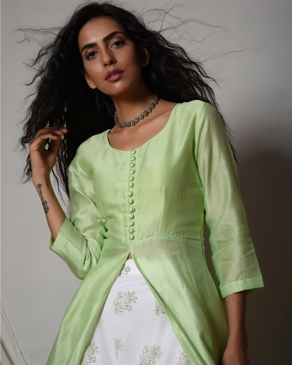 Mint green jacket kurta with floral white skirt 2