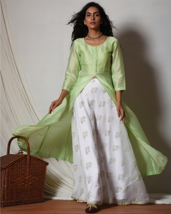 Mint green jacket kurta with floral white skirt 1