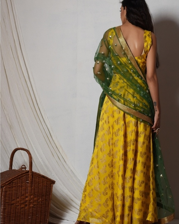 Yellow gold booti block print lehenga set 3