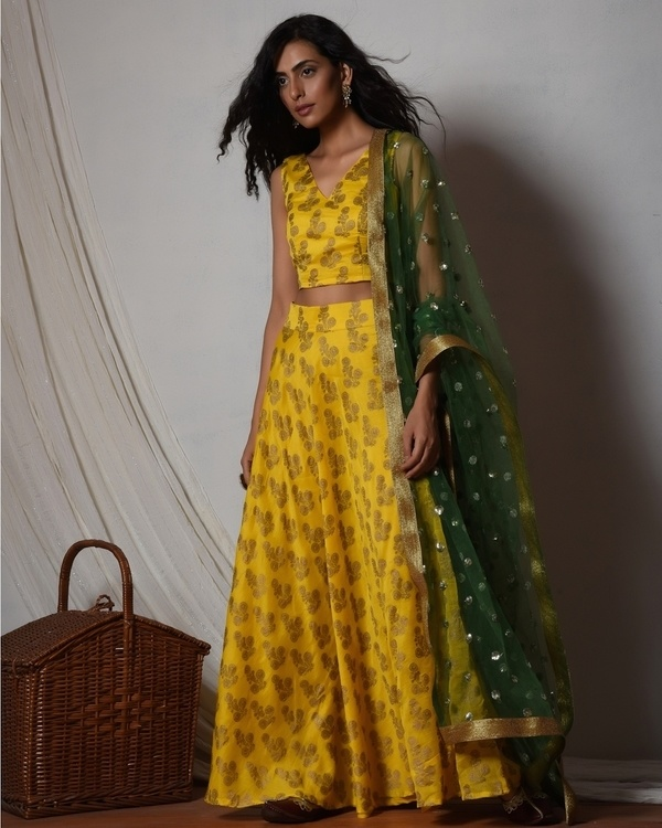 Yellow gold booti block print lehenga set 1