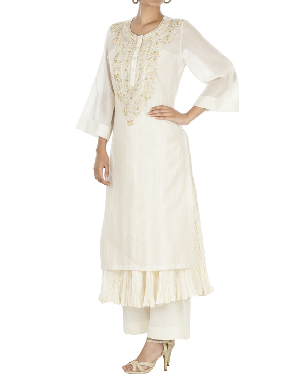 Ecru and beige kurta set 2