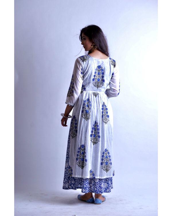 Blue maxi with mughal motif gathered tunic 2