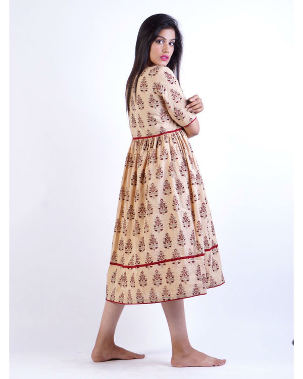 Maroon beige block printed midi dress 1