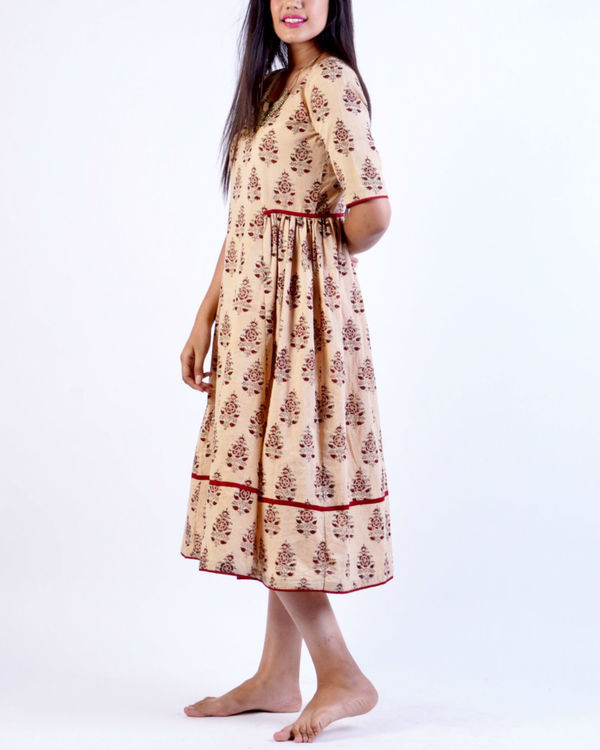 Maroon beige block printed midi dress 2
