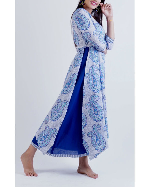 Blue layered uneven corner maxi dress 1