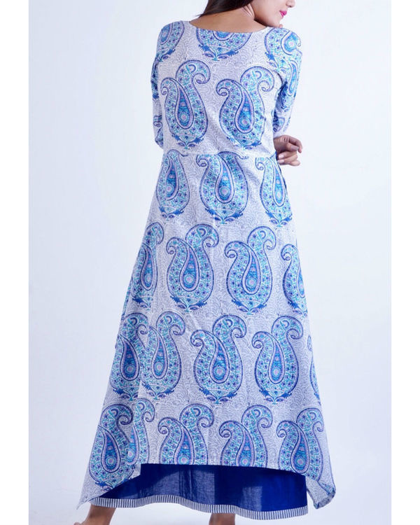 Blue layered uneven corner maxi dress 2