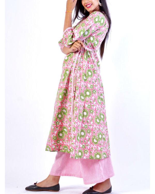 Pink wrap around angrakha with stripe palazzo 1
