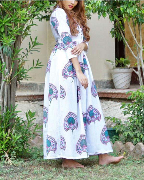 Blue and pink floral block printed maxi 1