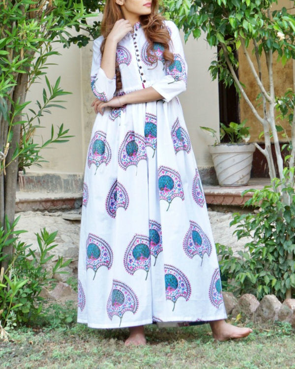 Blue and pink floral block printed maxi 2