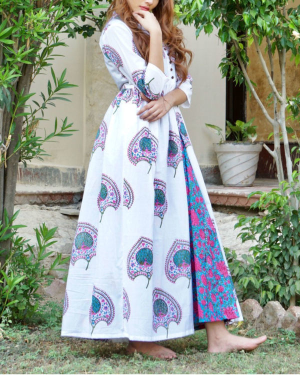 Blue and pink floral block printed maxi 3