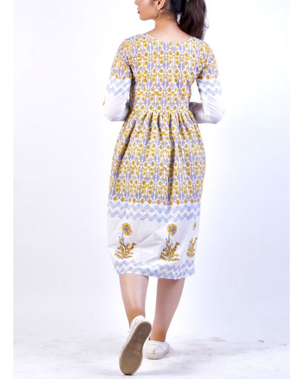 Yellow grey panel block printed midi dress 1