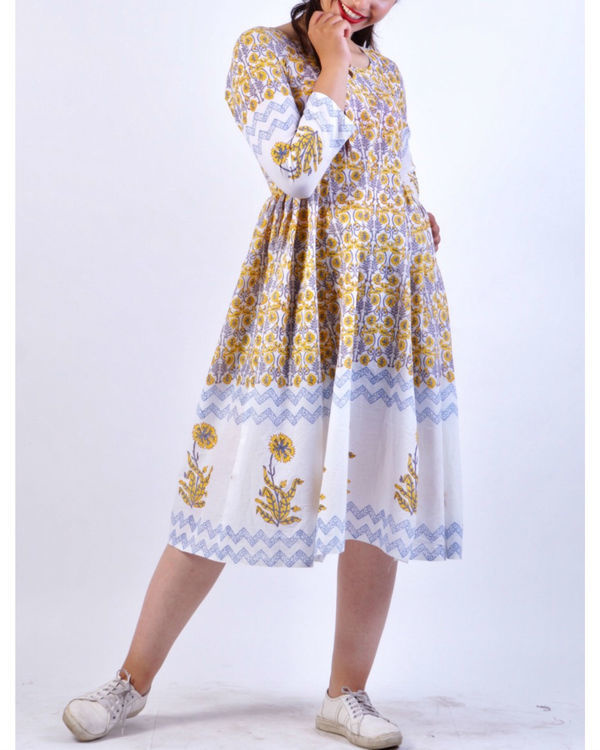 Yellow grey panel block printed midi dress 2