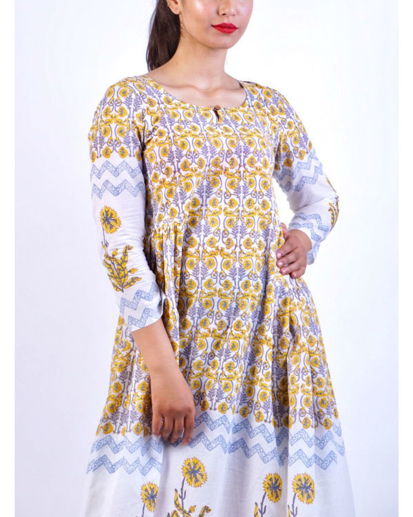 Yellow grey panel block printed midi dress 3