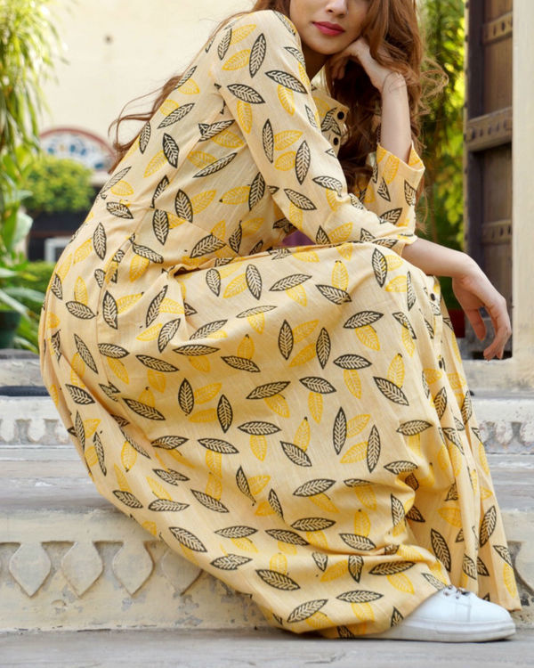 Yellow button down leaf block print cape 2