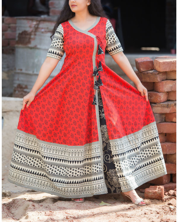 Red angrakha with black palazzo set 1