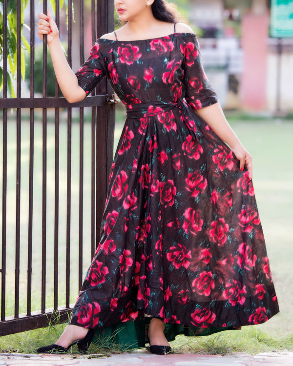 Black floral off shoulder dress 3