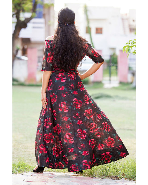 Black floral off shoulder dress 2