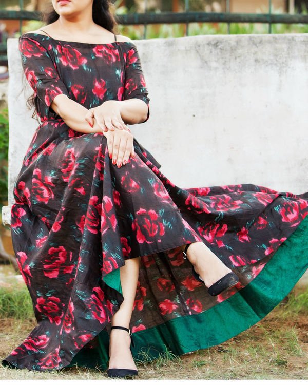 Black floral off shoulder dress 1