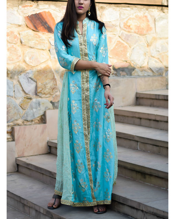 Blue foil print dress with gota handwork 1