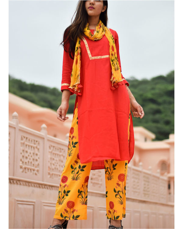 Bright red kurta and yellow block printed pant with stole 1