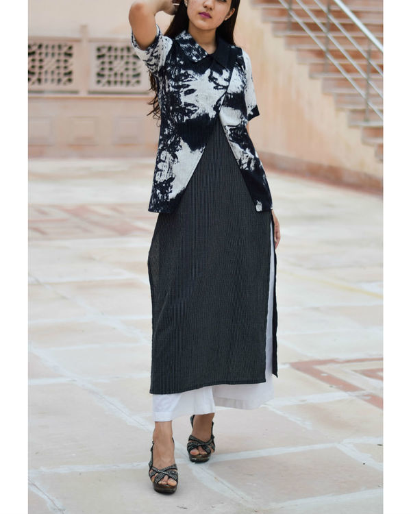 Black kurta with black and white tie dye jacket 1