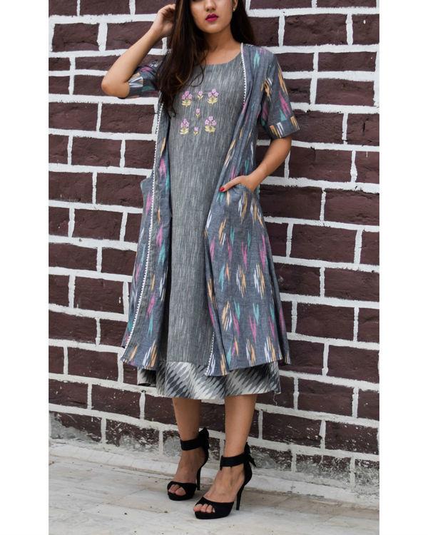 Grey ikkat dress with ikkat designer jacket 1