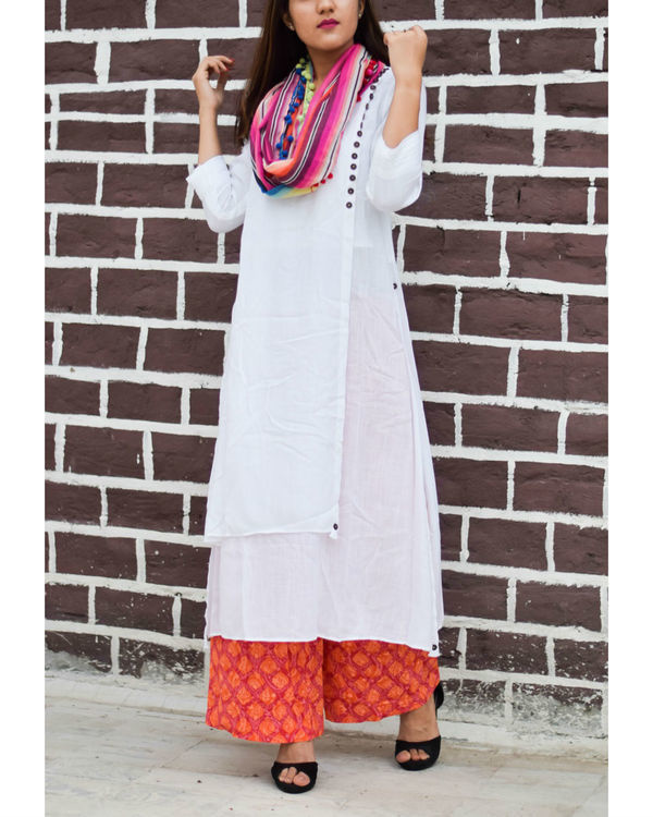 White asymmetrical kurta with block printed pant and multi-colored stole 1