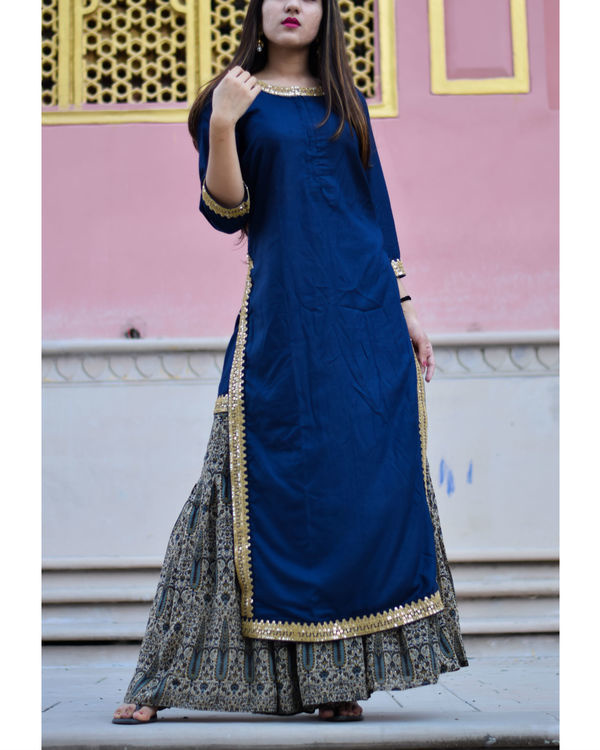Blue and beige gold kurta with sharara set 1