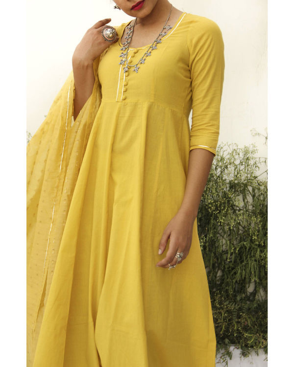 Yellow anarkali suit 1