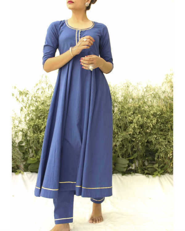 Blue anarkali suit 1