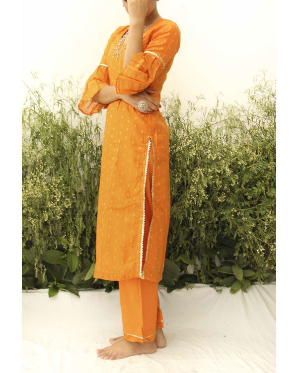 Orange chanderi straight suit 1