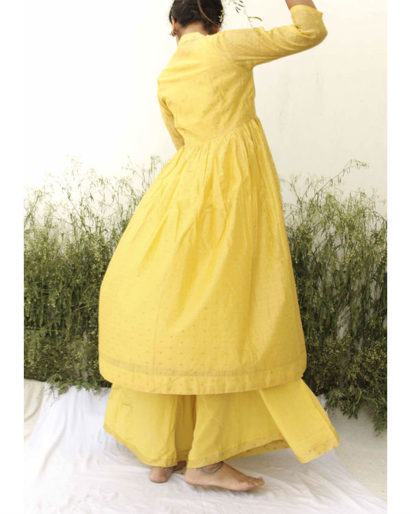 Yellow chanderi kurta flared palazzo set 3