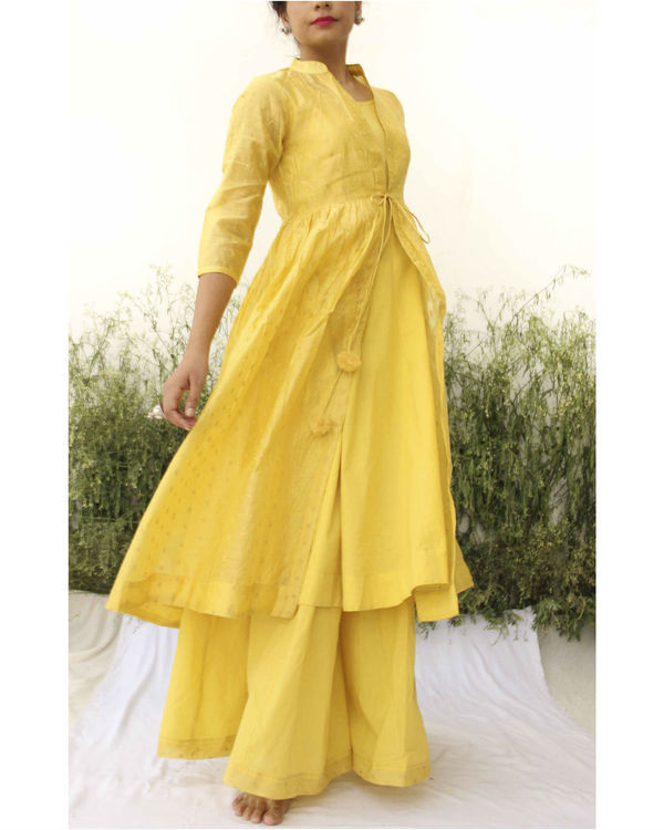 Yellow chanderi kurta flared palazzo set 2