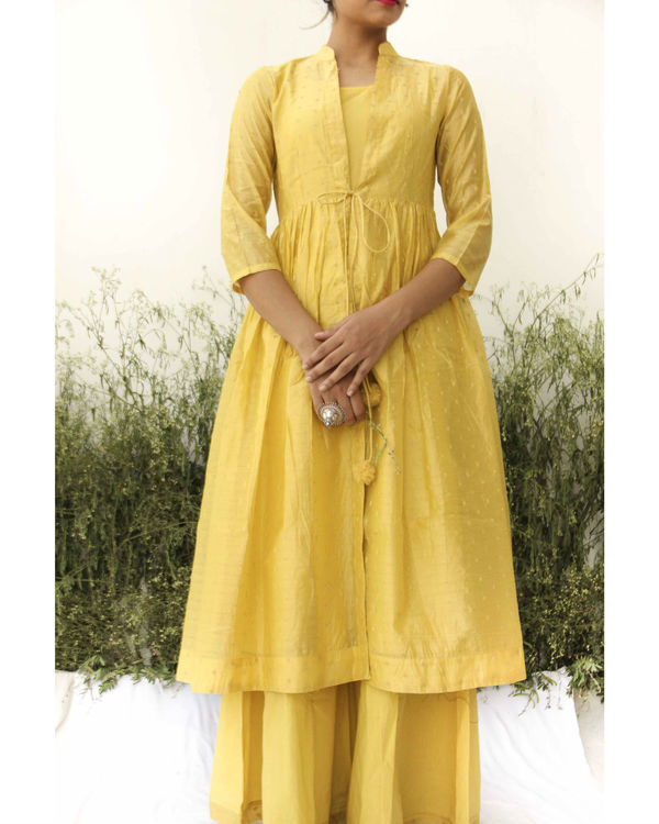 Yellow chanderi kurta flared palazzo set 1