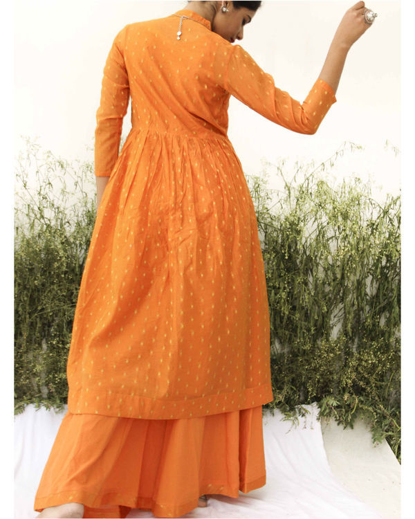 Orange chanderi kurta flared palazzo set 1