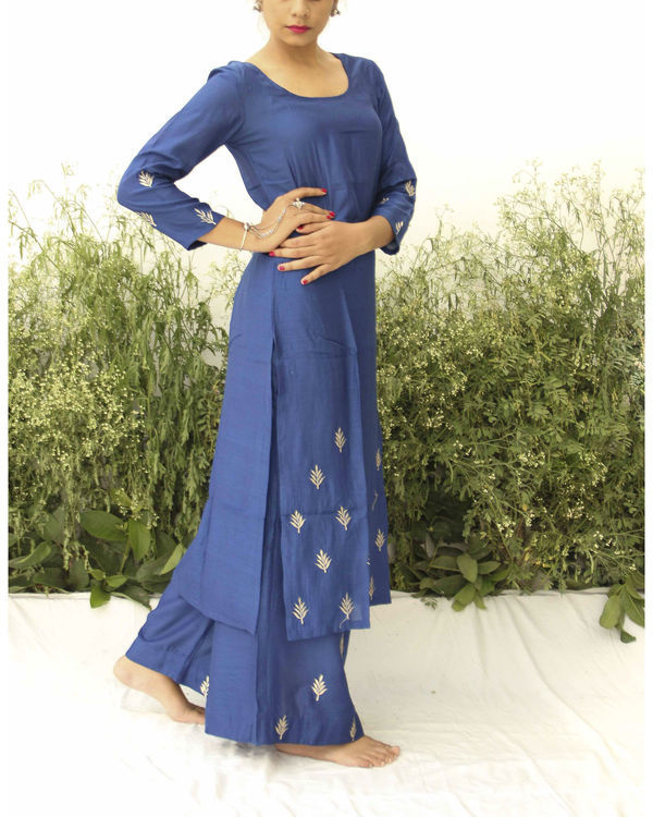 Royal blue silk suit 1