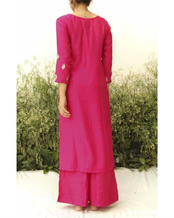 Fuchsia pink silk suit 2