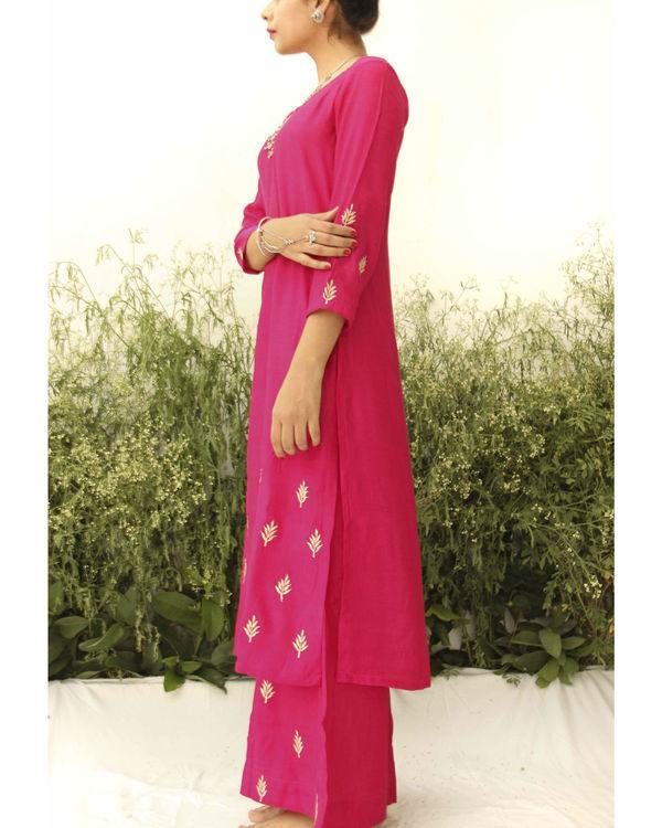 Fuchsia pink silk suit 1