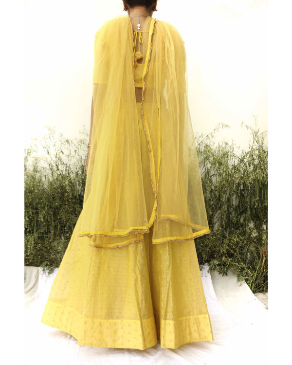 Yellow chanderi lehenga 3