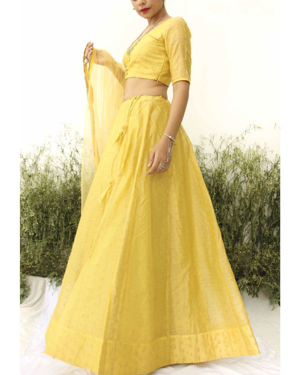 Yellow chanderi lehenga 1