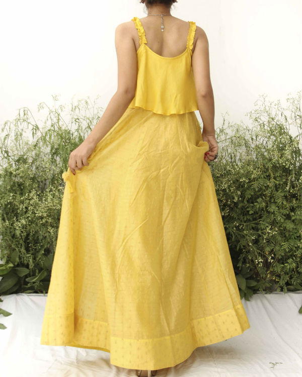 Yellow modal silk flared blouse lehenga 3