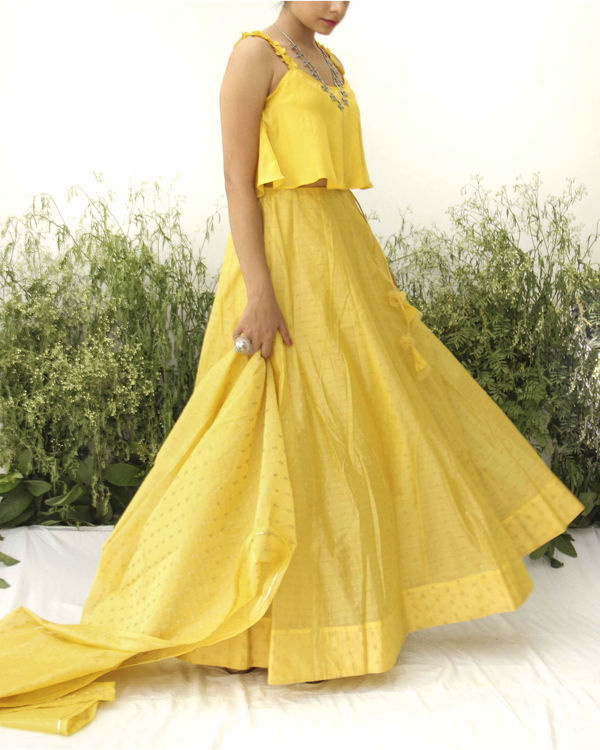 Yellow modal silk flared blouse lehenga 2
