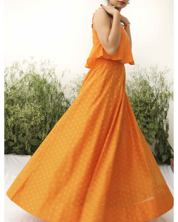 Orange modal silk flared blouse lehenga 1