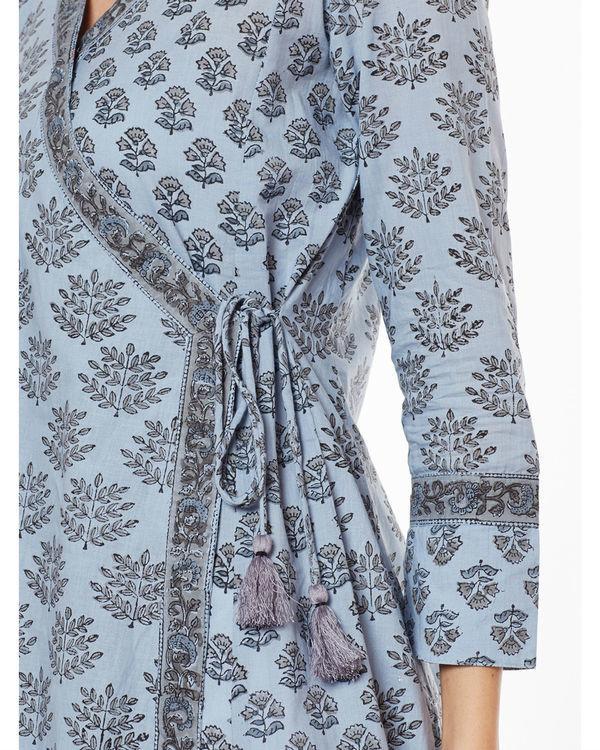 Greyish blue tie & tassel kurta 2