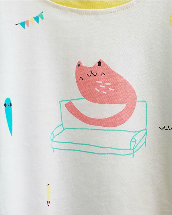 Cat motif printed tee 1