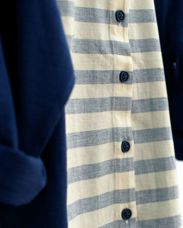 Grey and navy mandarin shirt 2