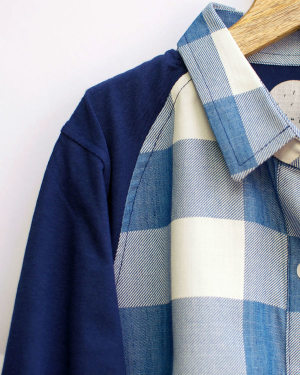Blue and white checked shirt 1