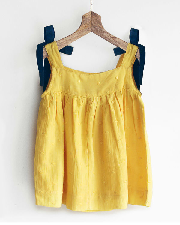 Yellow cami top with shoulder bow details 2